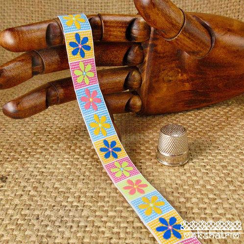 Art jacquard ribbon daisy flowers floral gingham dog collar Mokshatrim ethnic Exotic Haberdashery