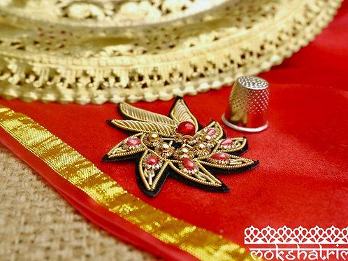 This Indian Asian ethnic motif applique sparkle goldcoilwork red pink gold bead zardozi Mokshatrim Haberdashery
