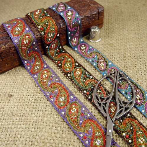 Indian Asian Paisley Jacquard Ribbon Mokshatrim Haberdashery