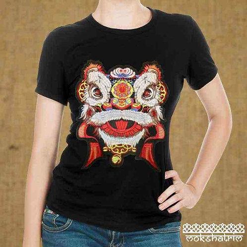 Large T-shirtEmbroidered Appliquepatch Traditional Ethnic Chinese Red Dragon Chinese New Year  Mokshatrim Haberdashery