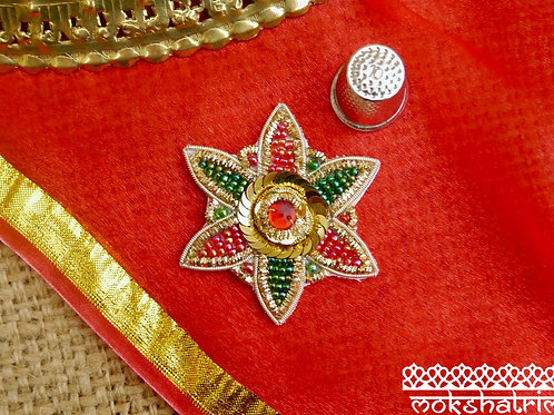 Indian Asian applique zardozi ethnic floral applique gold silver coilwork red green bead gold sequins Mokshatrim Haberdashery