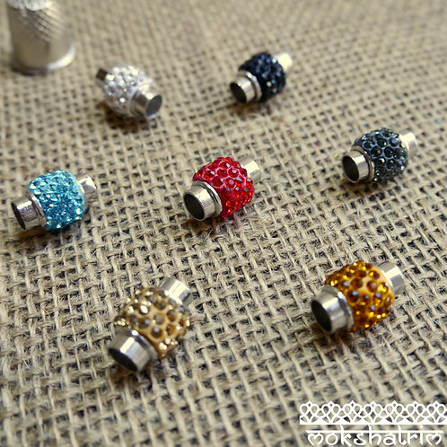 shamballa bead brass magnetic clasps polymerclay rhinestone Platinum colour 17X13mm 6mm cord closure jewellery mokshatrim