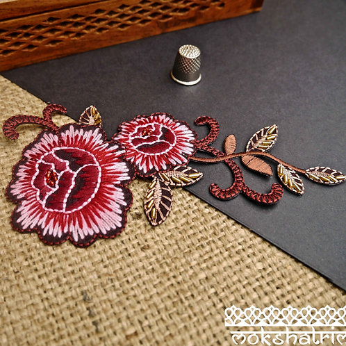 Iron on applique patch embroidered floral rose bead millinery haberdashery trim