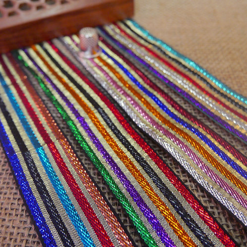 Metallic Striped Rainbow Design Ribbon M34