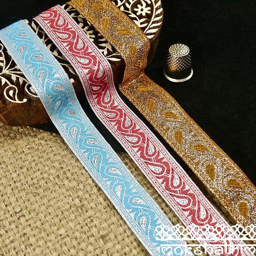 Paisley Metallic Jacquard Ribbon M112