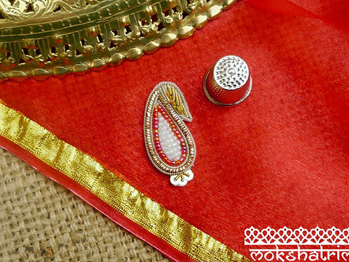 Indian Asian classic ethnic paisley applique gold coilwork sequins sparkle red white beads zardozi Mokshatrim Haberdashery