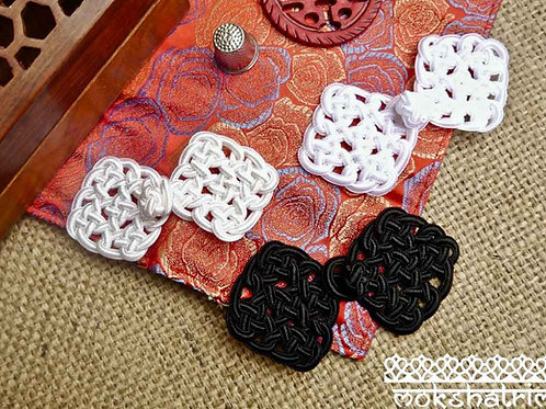 Black Cream White Chinese decorative frog fastening closure endless knot design shiny satin cord