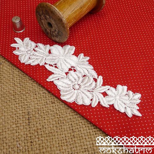 Large Ivory lace guipure applique patch flowers leaves sheen Mokshatrim Haberdashery