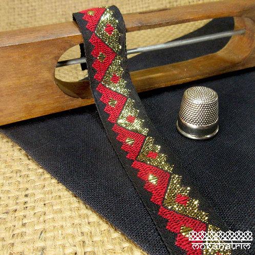 Traditional Jacquard ribbon zig-zag jin-yang bright red  gold metallic black Mokshatrim Haberdashery