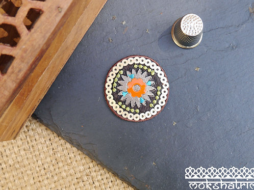 circular  aztec tribal western american indian embroidered sequin patch applique trim mokshatrim haberdashery