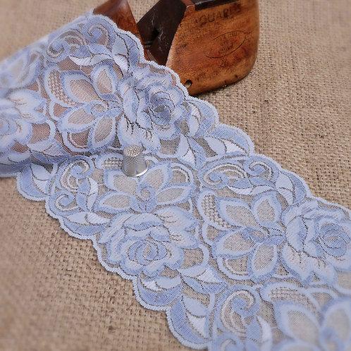 Wide Pale Blue Rose Design Chantilly Lace M357