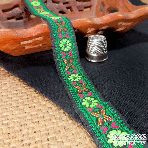Traditional Tibetan style jacquard ribbon abstract floral flower fluorescent lime green cerise pink dark green Mokshatrim
