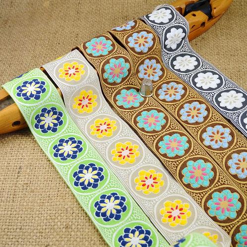 Retro jacquard ribbon repeating flower design with cotton like feel. Woven finish on reverse side. Mokshatrim Haberdashery