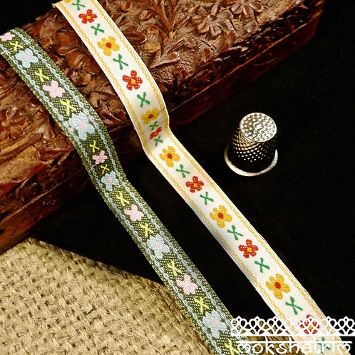 Floral Crossstitch Jacquard Ribbon M120