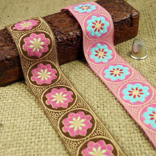 Pink Brown Turquoise Retro jacquard ribbon flower floral design cotton like Mokshatrim Haberdashery