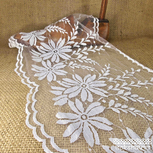 Extra-wide ivory vintage retrolace net large flower daisy foliage scalloped window net bridal costume period Haberdashery