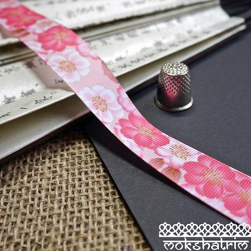 japanese-25mm wild rose pink grosgrain camelia flower floral ribbon trim haberdashery mokshatrim