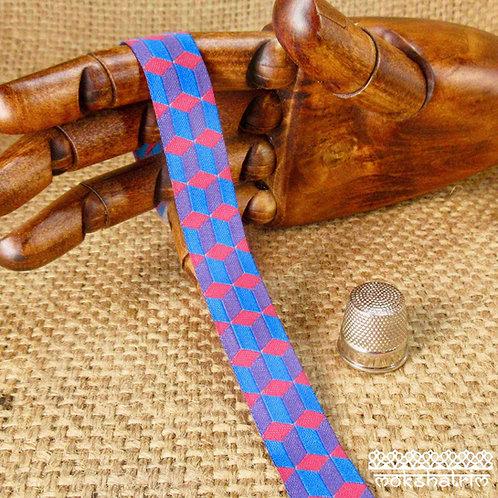 Art jacquard ribbon interlocking geometric turquoise blue cerise pink purple dog collar Mokshatrim ethnic Exotic Haberdashery