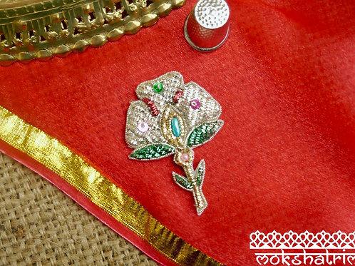 Indian Asian ethnic zardozi flower floralappliquegold silver green red coilworksparkle beading Mokshatrim Haberdashery