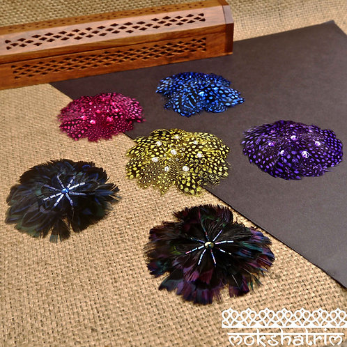 Feather Sequin Bead Applique MA720