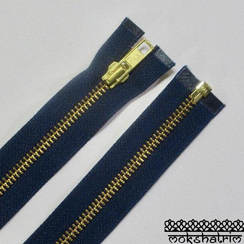 41cm (c. 16 inches) Navy Blue YKK heavy duty metal zipper jackets Mokshatrim Haberdashery