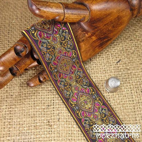 Asian/Indian decorativejacquard ribbon baroquestylepattern leaves swirls copper/bronze cerise pink gold Mokshatrim