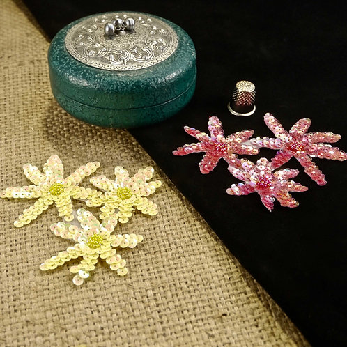 Pink/Yellow Flower Beaded Sequin Applique MA716