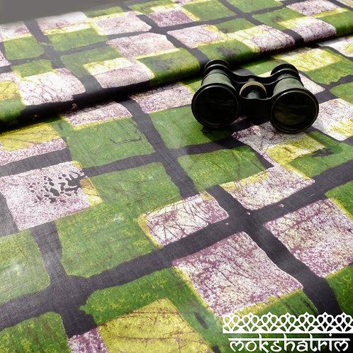 Green Black square batik printed ethnic african wax fabric cotton ankara Mokshatrim Haberdashery