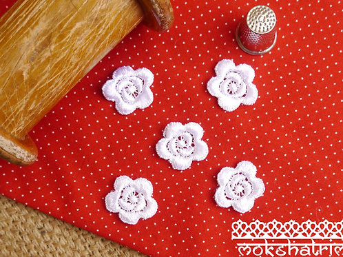 White small guipure lace applique patches Contemporary flower floral design rose soft sheen finish Mokshatrim haberdashery