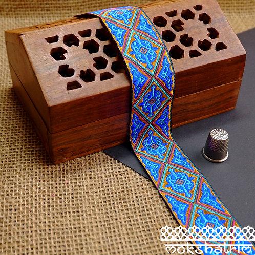 Tibetan ethnic decorativejacquard ribbon diamond geometric cerise turquoise copper trim mokshatrim haberdashery