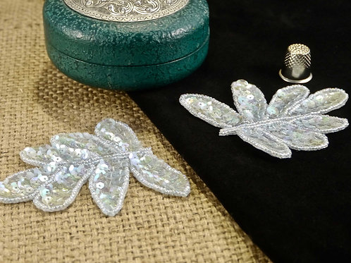 Mint Leaf Beaded Sequin Applique MA713