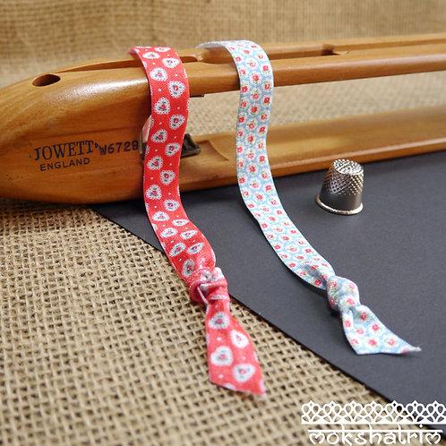 cath kidston flower floral heat transfer printed fold over elastic spandex trim red blue roses mokshatrim haberdashery