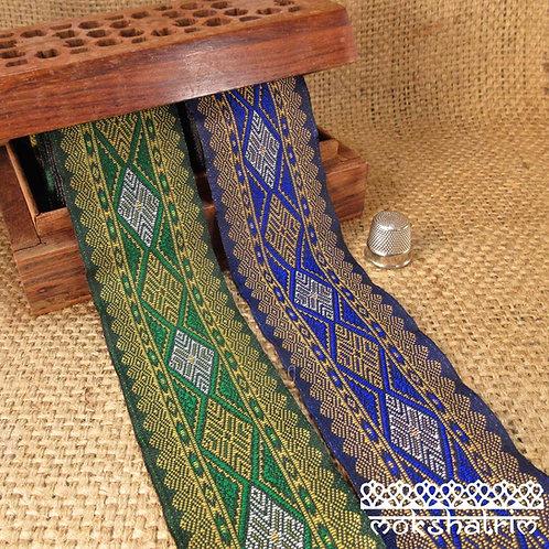 Asian/Indian ethnic decorativejacquard ribbongeometricdesign elongated diamonds bright green royal blueyellow gold Moksha