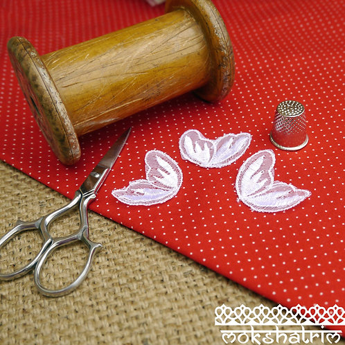 Whitelace embroidered tulle applique patch leaf butterfly wing Mokshatrim Haberdashery