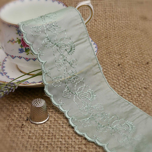 Seagreen Embroidered Ribbon Lace M328