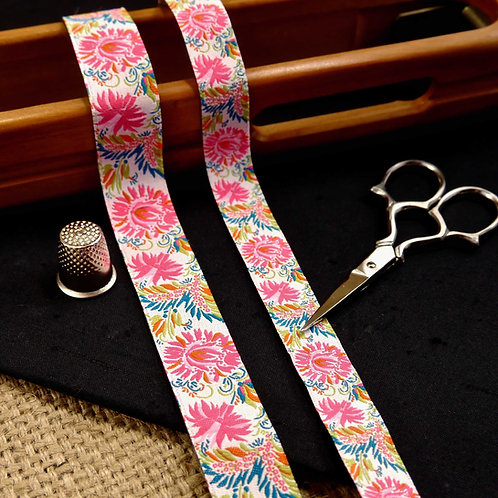 Chrysanthemum Flowers Pink Jacquard Ribbon MA903