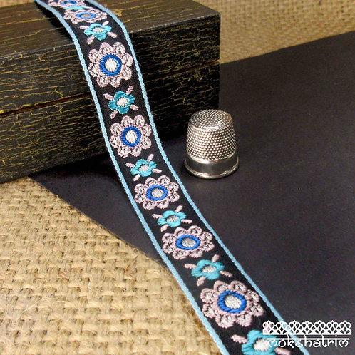 Chinese jacquard ribbon floral flower motif pale pink grey metallic silver  turquoise blue mid blue Mokshatrim Haberdashery