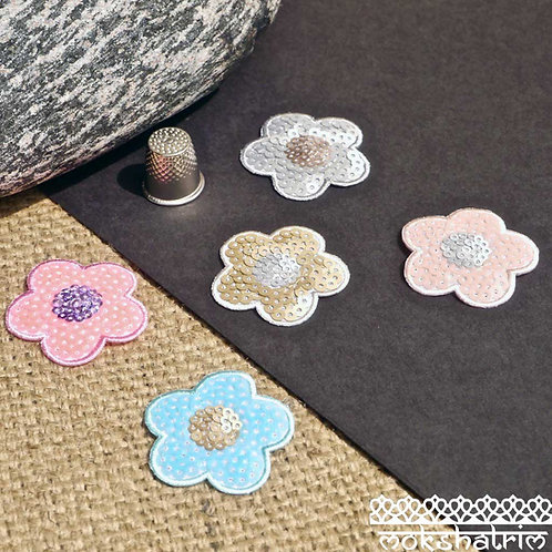 Small Flower Floral Sequin Applique petals iron-on subtle sparkle pink blue silver neon gold patches Mokshatrim Haberdashery