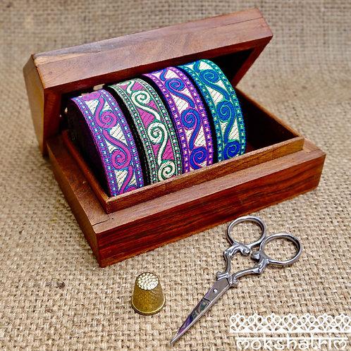 20mm black swirl curl metallic gold silver tibetan chinese oriental jacquard ribbon haberdashery trim Mokshatrim