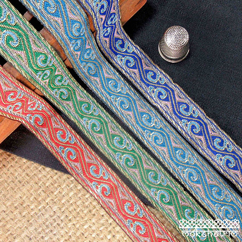 Red Green Blue Traditional Chinese jacquard ribbon undulating design swirls gold Mokshatrim Haberdashery