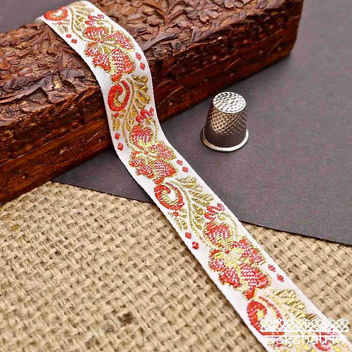 Traditional Chinese embroidered cotton tape floral flower red gold Ethnic haberdashery Mokshatrim