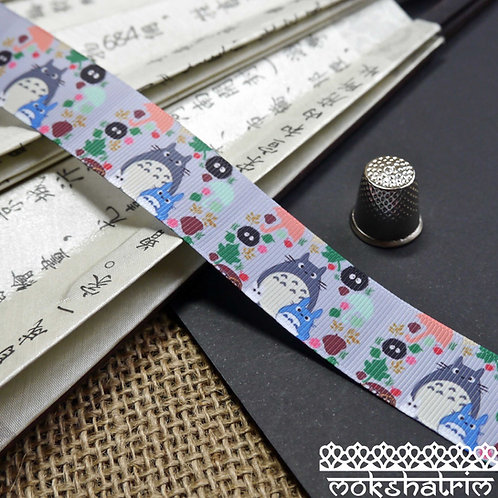 25mm Grey japanese grosgrain cartoon totoro ribbon trim haberdashery mokshatrim