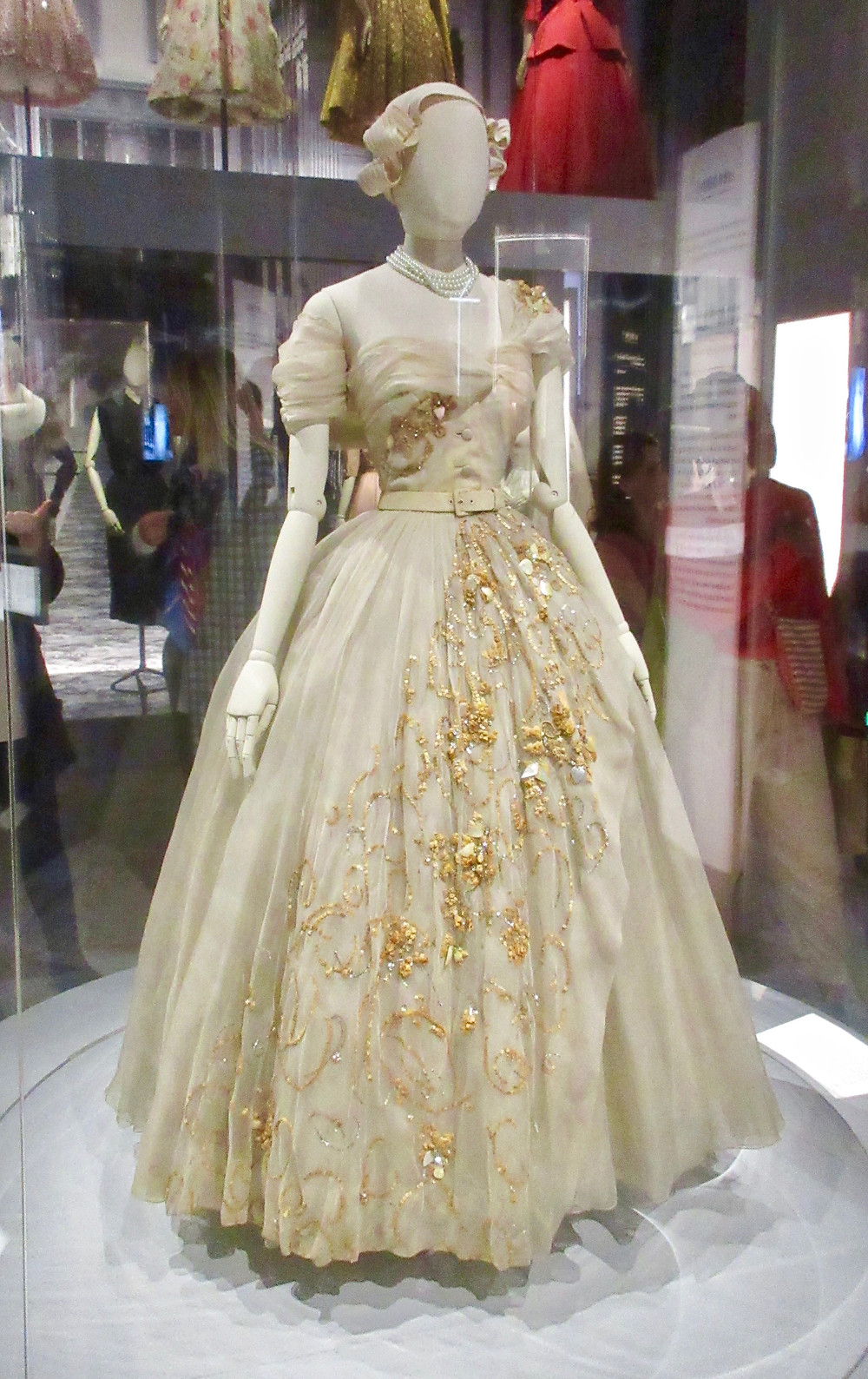 Princess Margaret's bespoke Dior dress for her 21st birthday made from silk organza adorned with straw, mother of pearl and sequins