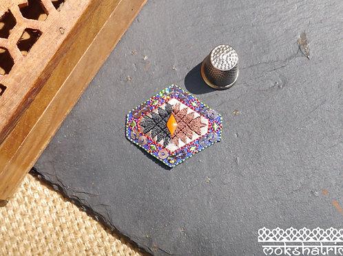 diamond aztec tribal western american indian embroidered sequin patch applique trim mokshatrim haberdashery