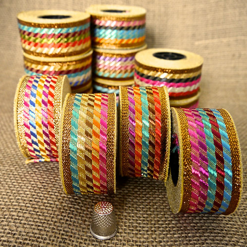 Decorative Indian Rainbow Jacquard ribbon trim metallic chequered
