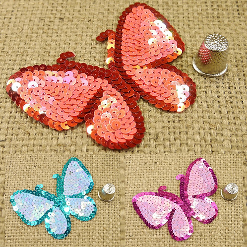 Red Blue Pink Butterfly Sequin appliques shiny metallic sequin patches jeans tshirt Mokshatrim haberdashery