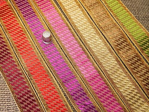 Asian Indian Jacquard ribbon Diagonal chequered metallic gold Geometric Mokshatrim Haberdashery
