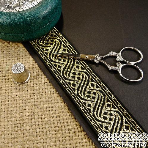 Gold Check Waves Jacquard Ribbon MA102
