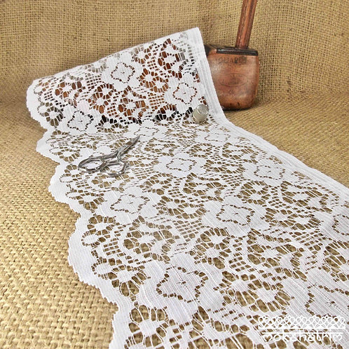 Extra wide fine crochet style white vintage retro lace net with abstract flower design cafe net window panel Haberdashery