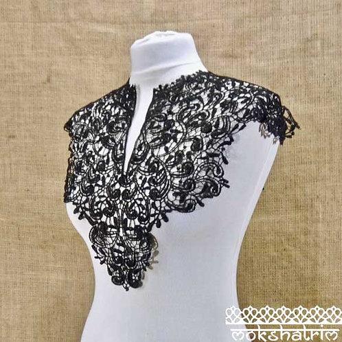 Large Black Lace Guipure Abstract Neckline Collar with Slit Applique Top, Tunic, Kaftan Mokshatrim Haberdashery Ethnic Exotic
